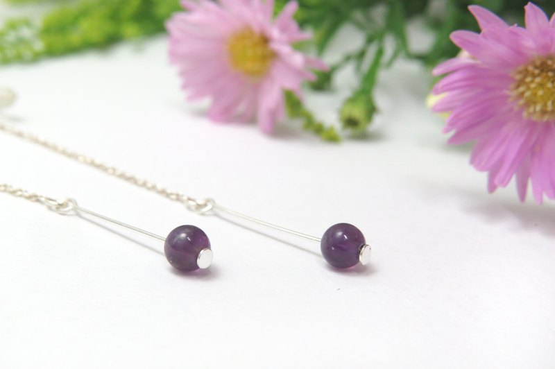 Retouching ReShi / June lucky natural amethyst sterling silver earrings / Virgo / 925 sterling silver