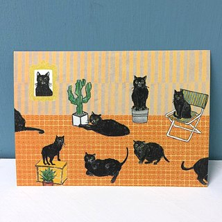 Black cat family postcard