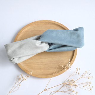 MaryWil Bisque Suede Headband - Grey/Gray Blue