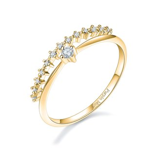 【PurpleMay Jewellery】 18k Yellow Gold Crown Natural Diamond Ring R023