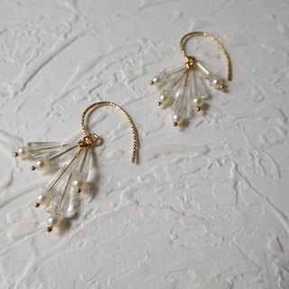 14K gold hook glass crystal round pearl earrings can be changed folder