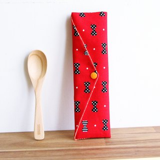 Wen Qing style green chopsticks bag ~ sweet girl red storage package. Green chopsticks bag. Hand made cutlery bag
