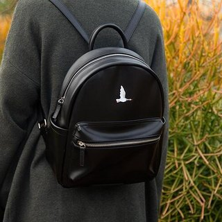 YIZISTORE Fowls .pu Leather Embroidery Backpack Backpack - Black Goose