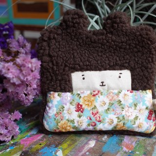 Duo rabbit buns wallet - cocoa hair -169 blue sky small daisies