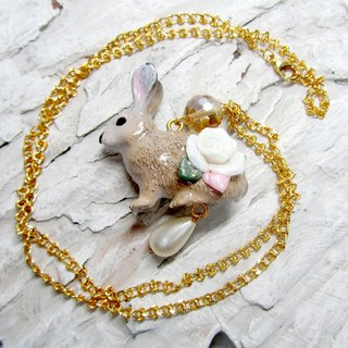 TIMBEE LO Bunny Garden Rose Necklace Necklace Ceramic Roses Pink Bunny