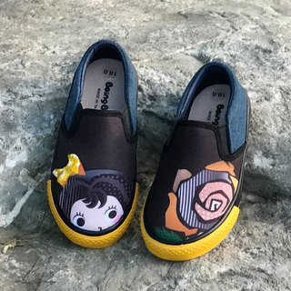 Girls shoes illustration convenient casual shoes - denim blue / beauty and the beast