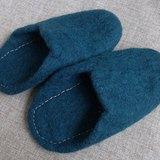 【樂拍子】尼泊爾 羊毛氈 手工鞋 室內鞋 室內拖(藍綠 23cm)