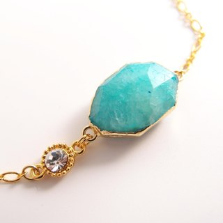 Natural stone 【Cn0187-A】 sky blue agate. 24K gold clavicle chain or bracelet