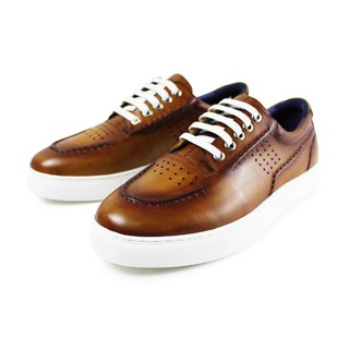 Handmade vintage leather shoes fashion party wedding brown men's casual shoes