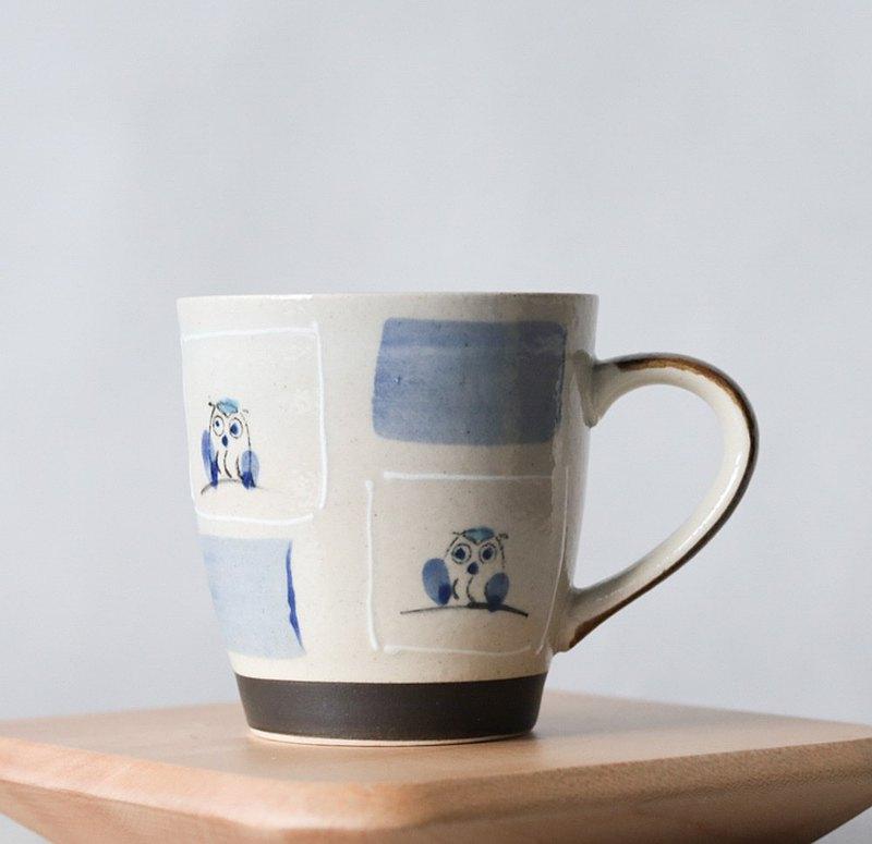 日本美濃燒 │ 貓頭鷹馬克杯 320ml-藍色