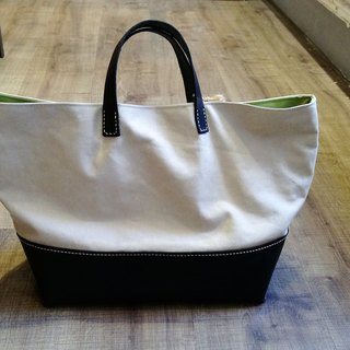 Cow leather + canvas portable tote