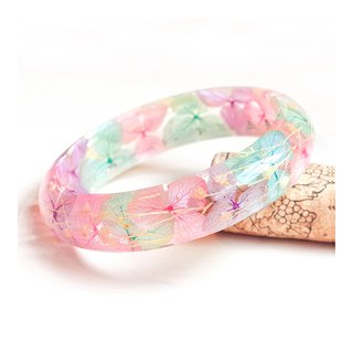 Flower said, pink candy - hydrangea, real flower bracelet, pink, dry flower, eternal flower, eternal flower