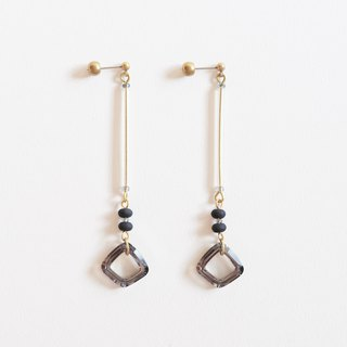 Faceted Crystal Glass Brass Long Earrings Grey Gold Bold