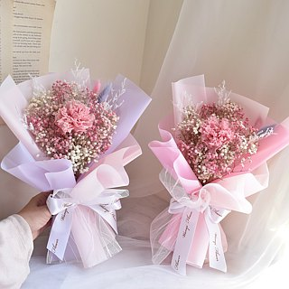 WANYI pink carnation bouquet dry flower / gift / Mother's Day / desk furnishings / layout