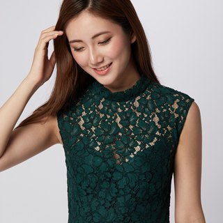 Veronica Green Lace Open Back Dress