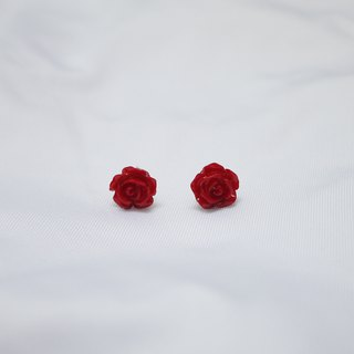 Simple and elegant red rose earrings