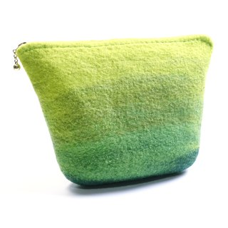 Handmade green gradual wool felt wet felt universal cosmetic bag / mountain