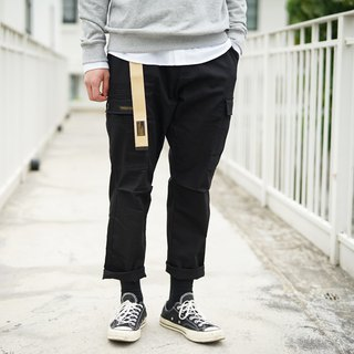 Wide version of the two-pocket army pants Wide Cargo Pants / simple / plain / couple clothes