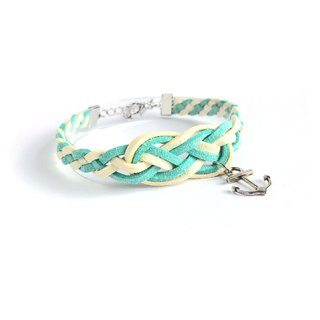 Handmade Braided Sailor Knot Bracelets - mint green limited