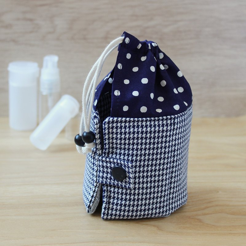 Travel Kit POUCH blue dot & blue houndstooth