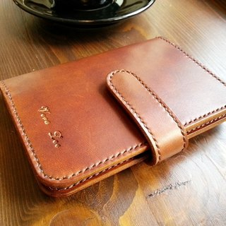 Leather leather hand-made passport holder certificate package magnetic button type custom color printing English word
