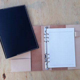 A5 loose-leaf book / notebook - with pen insert (6 holes) │ Italian canned leather can be branded (10 words)
