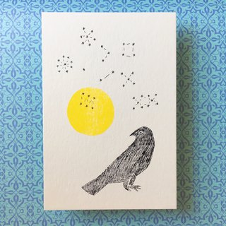 Free Shipping - Mimeograph 12postcard package - Moon and Crow - T8