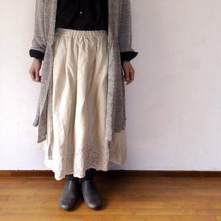 Linen 100% scalloped embroidery skirt ivory