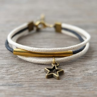 White/Black waxed cord bracelet with brass star