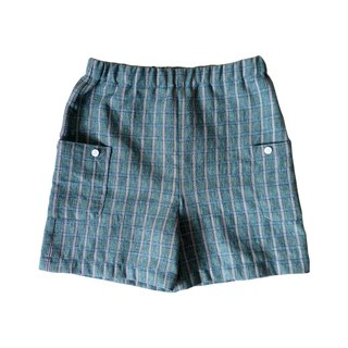 Little Boys Green Plaid Knee Shorts - 100% Cotton - Handmade Children's Clothes