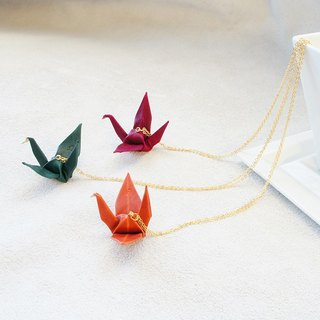 Leather Thousand Paper Crane Happiness Necklace - 8 colors in total