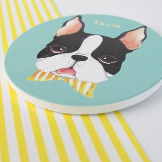 icure absorbent coaster - i magic - hand painted wind H7. bow tie Boston dog