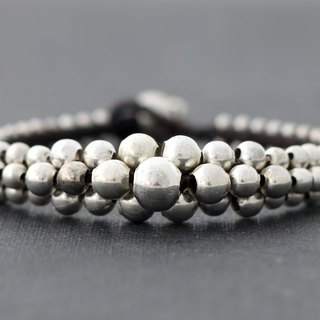 Lunar Beaded Silver Bracelets Woven Braided Cuff Bangle