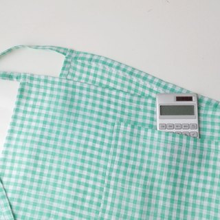 Green Gingham Linen Pocket Apron