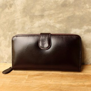 Leather Wallet - Zip Around Plus - Dark Brown (Genuine Cow Leather)