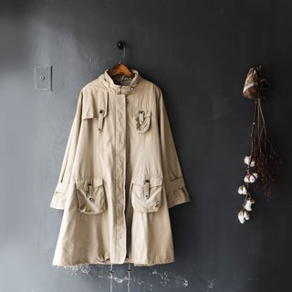 Milk tea khaki features independent buckle A word antique thin material windbreaker jacket trench_coat dustcoat