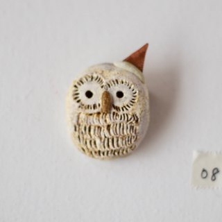 white owl going to the party broach / animal pottery broach 06
