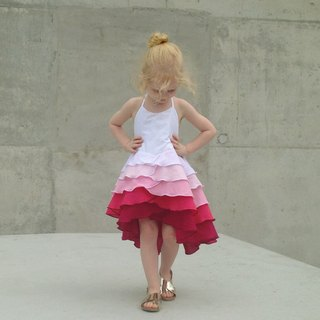 Girls Flamenco Party Dress in Rasperry Ombré 0 -2 Years