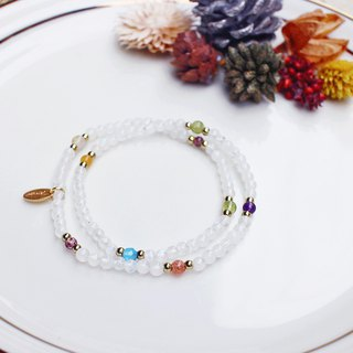 <Slow Temperature Natural Stone> C1231 White Moonlight Double Circle Bracelet // Summer Snowflake Ice