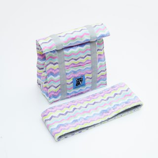 Wavy color marble texture accessory set - cold insulation bag cool towel
