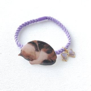 Handmade  Exotic Shorthair  Sleeping Cat Jojo Ribbon Charm 2 ways Elastic  & Bracelet
