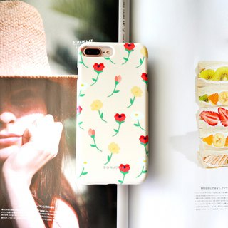 Cream pastoral flower phone case