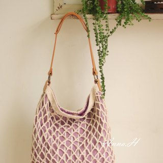 Hand hook cotton shoulder bag woven bag with lace brooch decoration
