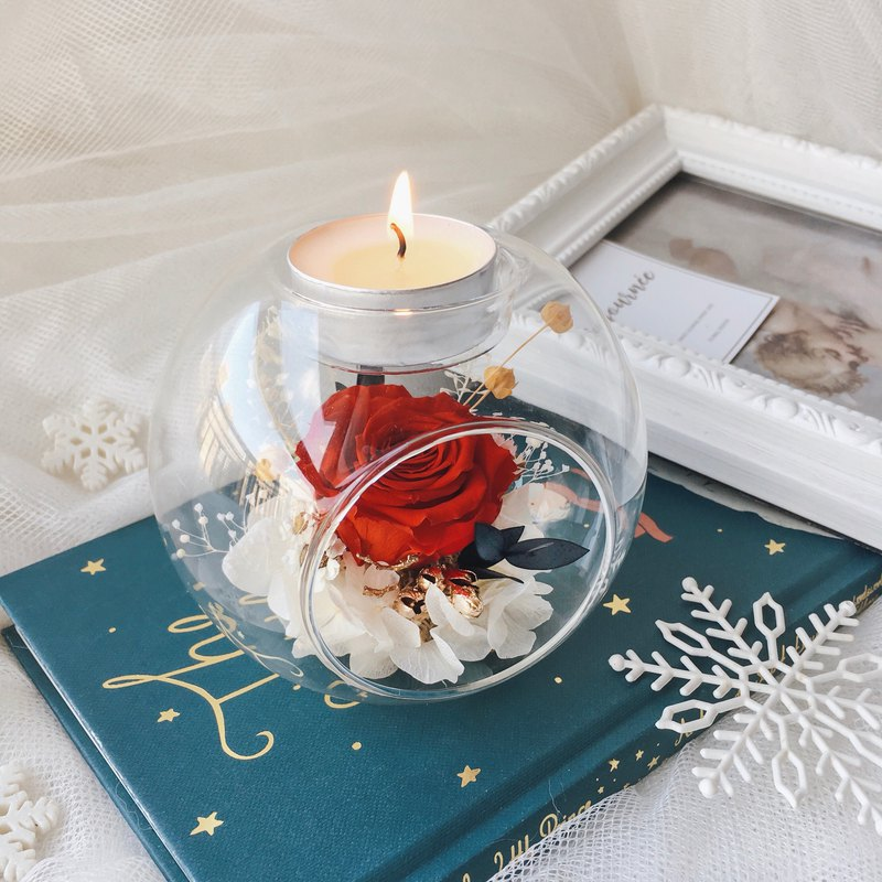 Journee 玫瑰乾燥花燭台玻璃球禮盒 永生花 蠟燭 聖誕禮物包裝