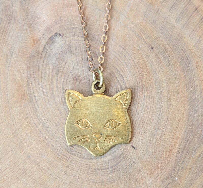 Brass Cat Face Necklace
