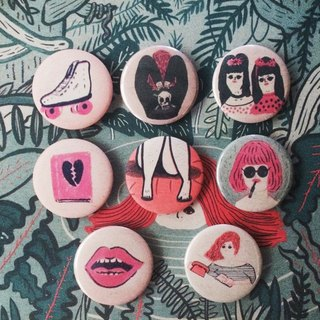 risograph pins girl series buttons