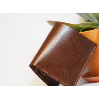 Handmade leather vegetable tanned paper banknotes change simple folding short folder wallet gift customization