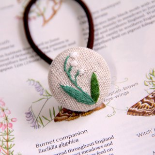 Lily of the valley plant embroidery hair band elastic