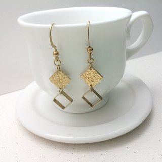 Brass earrings embossed square hollow box ear hook