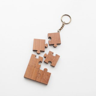 Customized wood teak puzzle key ring - Special 6 piece set